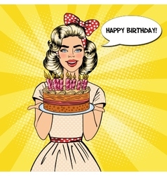 Pop Art Woman Holding Plate with Birthday Cake vector