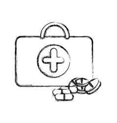 Profile suitcase health with treatment icon vector