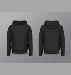 realistic men hoodie or black 3d hoody sweatshirt vector image
