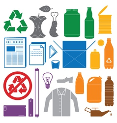 Recycling and various waste color icons vector