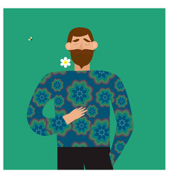 romantic concept bearded man holding a flower in vector image