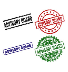 Scratched textured advisory board stamp seals vector