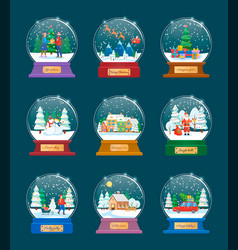 set of balls with winter holiday preparing vector image