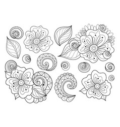 Set of beautiful monochrome flowers and leaves vector