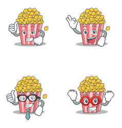 Set of popcorn character with proud okay vector