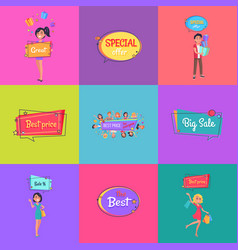 Set of posters with sale adverts man and women vector