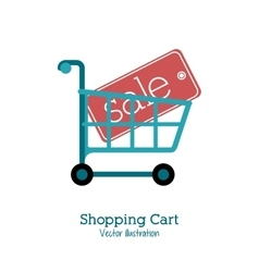 Shopping cart design market icon flat vector