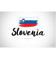Slovenia country flag concept with grunge design vector