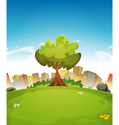 Spring city landscape vector