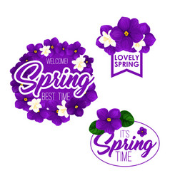 Spring season holiday badge set with flowers vector