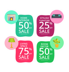 stylish home interior elements sale stickers set vector image