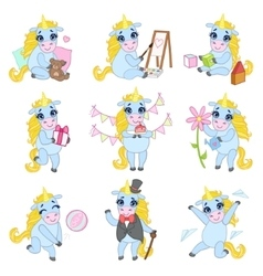 Sweet Unicorn Cartoon Set vector