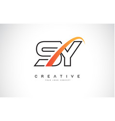 Sy s y swoosh letter logo design with modern vector