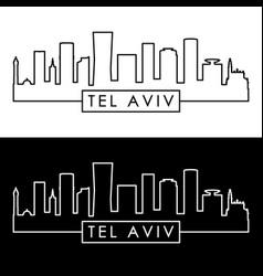 tel aviv skyline linear style editable file vector image