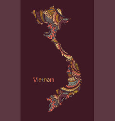 textured map vietnam hand drawn ethno vector image