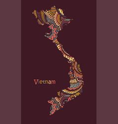 Textured map vietnam hand drawn ethno vector