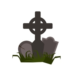 Tomb icon flat vector