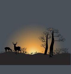 Tranquil silhouette trees and animals on a vector
