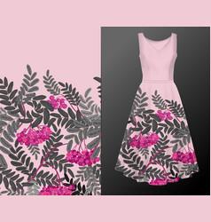 vertical autumn rowanberry seamless pattern on vector image