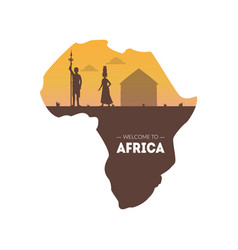 welcome to africa banner template african map vector image