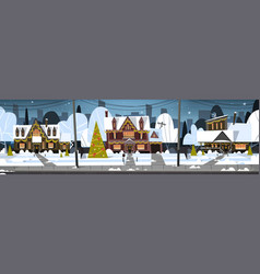 winter suburb town view snow on houses with vector image