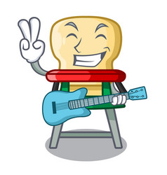 with guitar cartoon baby sitting in the highchair vector image