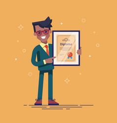 black man holding diploma in his hands vector image vector image