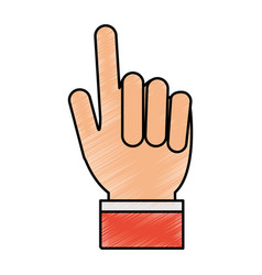 color pencil hand with two fingers up vector image