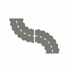 Curved road icon in cartoon style vector image