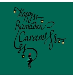 Doodle calligraphy text Happy Ramadan Kareem and a vector image vector image