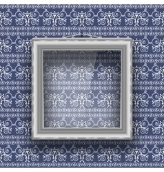 Empty square frame with glass on the wall with vector image
