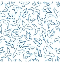 Flying birds seamless pattern with blue doves vector image