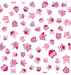 pattern with funny pink owls on white background vector image