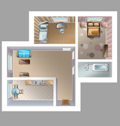 top view detaleted interior vector image