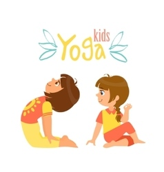 Two Girls Doing Yoga Asana vector image