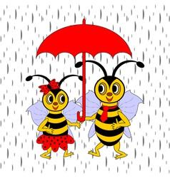 A couple of funny cartoon bees under red umbrella vector