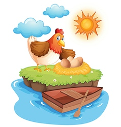A hen with eggs in an island vector image vector image