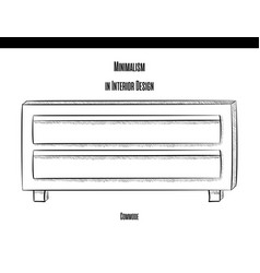 chest of drawers with two drawers in a contour on vector image vector image