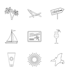 Holiday in Miami icons set outline style vector image vector image