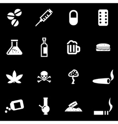 white drugs icon set vector image vector image