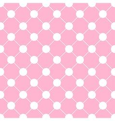 White Polka dot Chess Board Grid Pink vector image