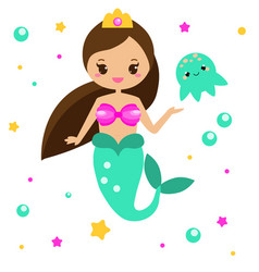 cute mermaid with jellyfish cartoon character vector image