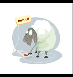 digital funny cartoon sheep vector image