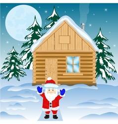 House in winter wood vector image