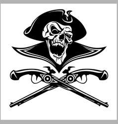 piracy skull and crossed pistols vector image