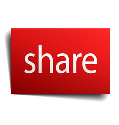 Share red paper sign isolated on white vector
