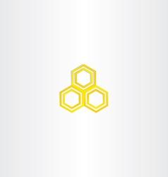Yellow logo honey comb icon vector