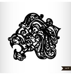 Zodiac signs black and white - Leo vector image