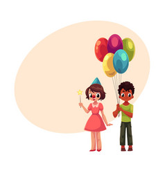 black boy with balloons and caucasian girl in vector image vector image