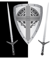 fantasy shield and swordsfourth variant vector image vector image